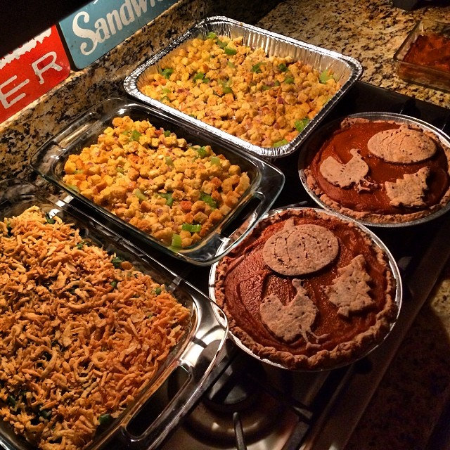 Dar spent the last 3+ hours in the kitchen making me stuffing, green bean casserole, and pumpkin pie. ALL VEGAN! Just so I don't feel left out tomorrow. It's too bad she doesn't love me.