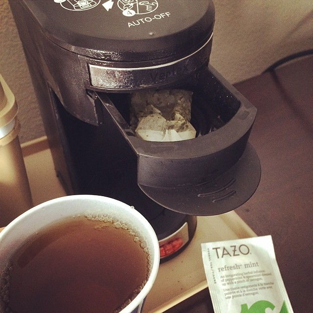 I finally have a use for single serve hotel room coffee makers. Startin' my day right! #PeppermintTea