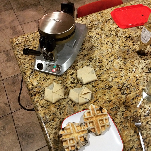 Found a new use for our waffle maker! Uncooked tortillas, rice, and beans. #WafflePockets BOOM!