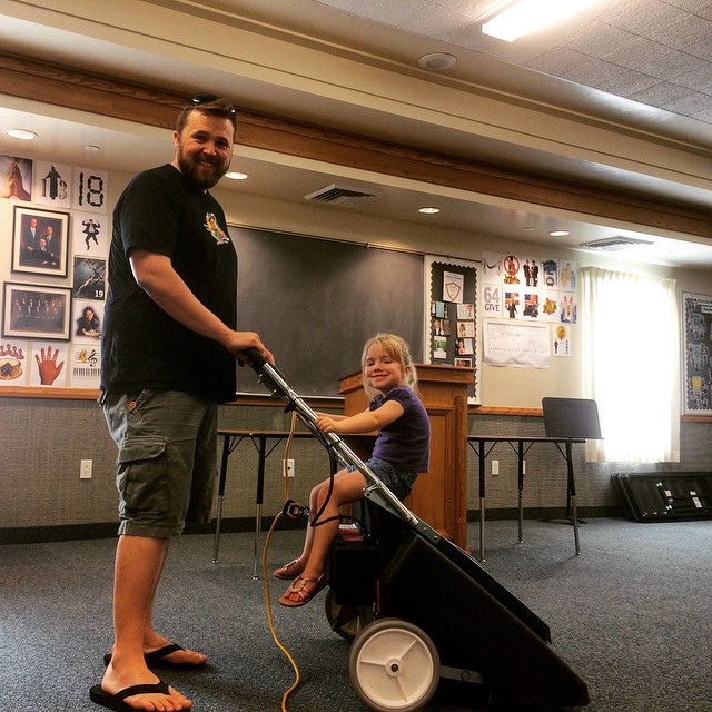 It's our turn to clean the church building and I have the cutest little helper in the whole wide world!