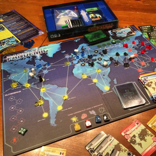 Pandemic is the hardest and most fun board game I've ever played. It took us 10 full games but Dar and I finally cured all 4 diseases.  #Pandemic #BoardGame